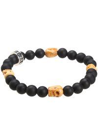 King Baby Studio | Metallic Onyx Bead Bracelet With 4 Bone Skull Stations for Men | Lyst