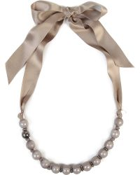 Lanvin - Gray Tulle and Pearls Necklace - Lyst