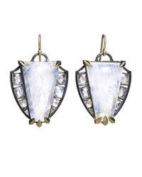Nak Armstrong - White Rainbow Moonstone Shield Earrings - Lyst