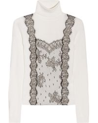 Valentino | Natural Lace Detailed Wool Blend Turtle Neck Sweater | Lyst