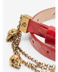 Alexander McQueen - Red Double Wrap Chain Bracelet - Lyst