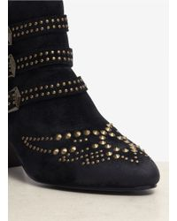 Ash Black Joyce Studded Suede Ankle Boots