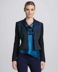 Elie Tahari Blue Roni Jacquard Jacket