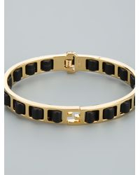 Fendi Metallic Woven Leather Bracelet