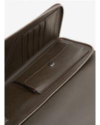 Giorgio Armani Brown Leather Document Zip Case for men