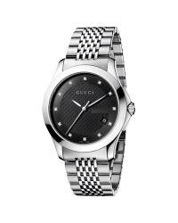 Gucci Metallic Men's G-timeless Diamond Set Stainless Steel Bracelet Strap Watch