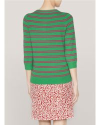 J.Crew | Green Striped Cashmere Tippi Sweater | Lyst