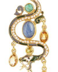 Percossi Papi Metallic Snake Goldplated Multistone Earrings