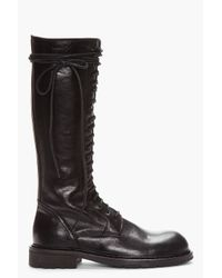 Ann Demeulemeester Tall Black Leather Lace Up Boots For