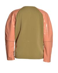 Antipodium Pink Sage Green Automate Bomber Jacket By