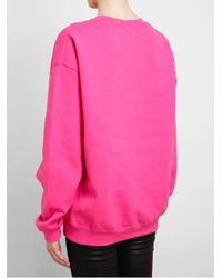 Brian Lichtenberg Pink Unisex Feline Cottonblend Sweatshirt