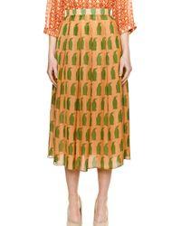 Charlotte Taylor Yellow Penguin Chiffon Midi Skirt By