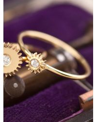Clarice Price Thomas | Metallic Tiny Gold Cog Ring With White Sapphire | Lyst
