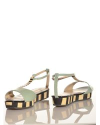 Joanne Stoker Multicolor Mint Conga Flat Wedge Sandal By