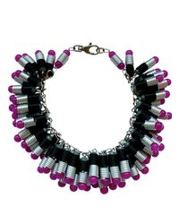 Kirsty Ward Black Wire Coiled Necklace with Glass Beads Crystals