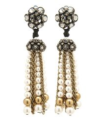 Lanvin | Metallic Crystal Pearl Tassel Earrings | Lyst