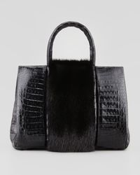 Nancy Gonzalez Small Mink Furstripe Crocodile Tote Bag Black