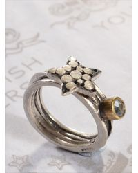 Peculiar Vintage Metallic Silver Star & Gemstone Ring By