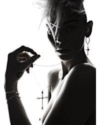 Rachel Entwistle - Metallic Large Gold Cross Pendant On Long Black Chain - Last One - Lyst
