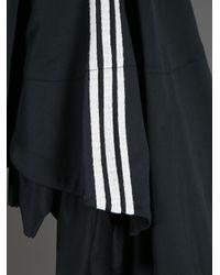 Y-3 Black Ruffle Striped Dress