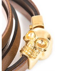 Alexander McQueen - Brown Double Wrap Leather Skull Bracelet for Men - Lyst