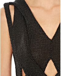 Alexander Wang Black Molded Cable Muscle Tank