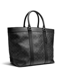 COACH Black Bleecker Weekend Tote in Signature Coated Canvas for men