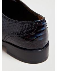Lanvin Blue Womens Imitation Reptile Print Derby Shoe