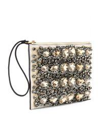 Marni Metallic Crystalembellished Leather Clutch