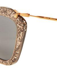 Miu Miu Metallic Grey Noir Sunglasses