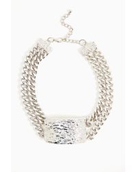 Nasty Gal - Metallic Hammered ID Necklace - Lyst