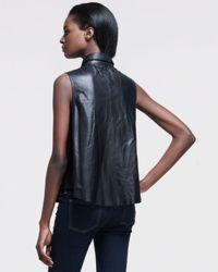 Rag & Bone Black Sleeveless Leather Blouse