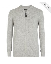 AllSaints | Gray Arden Zip Through Jumper for Men | Lyst