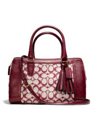 COACH Purple Legacy Haley Satchel with Strap in Needlepoint Signature Fabric