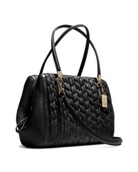 COACH Black Madison Madeline Eastwest Satchel in Gathered Chevron Leather