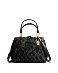 COACH Black Madison Mini Satchel in Gathered Twist Leather