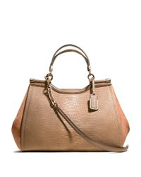 COACH Brown Madison Caroline Satchel in Nubuck and Lizard Embossed Leather