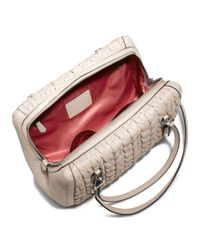 COACH - Gray Madison Madeline Eastwest Satchel in Gathered Chevron Leather - Lyst