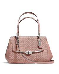 COACH Pink Madison Small Madeline Eastwest Satchel in Op Art Needlepoint Fabric