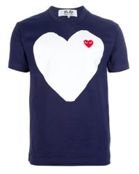 Comme des Garçons Blue Logo Print Tshirt for men