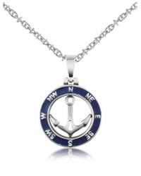 FORZIERI Metallic Stainless Steel Anchor Pendant Necklace