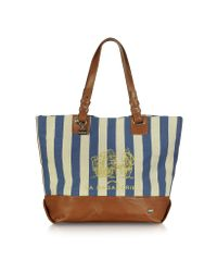 La Bagagerie Blue Etreat Striped Canvas Tote