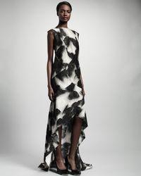 Lanvin Black Fishtail Pieced Butterfly Print Dress