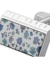 Ted Baker Blue Florcuf Floral Print Cufflinks