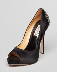 Badgley Mischka Black Peep Toe Platform Evening Pumps Dre Ii High Heel