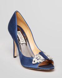 Badgley Mischka Blue Open Toe Evening Pumps Davida Ii High Heel