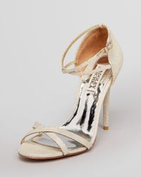 Badgley Mischka Natural Evening Sandals Dominique High Heel