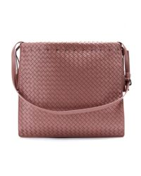 Bottega Veneta Pink Intrecciato Leather Shoulder Bag
