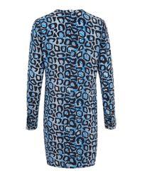 Equipment Blue Leopard Snake Print Silk Dress