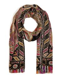 Etro | Natural Printed Silk and Linenblend Scarf | Lyst